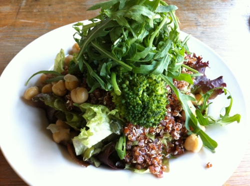 Tahini, lemon and mint dressed leaves, with quinoa, chickpeas, broccoli, grated beetroot, red onion, pumpkin seeds and rocket leaves - £6.75