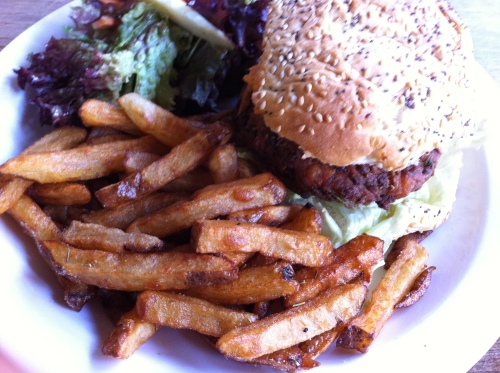 Veggie burger with hummus, and chips - £7.80